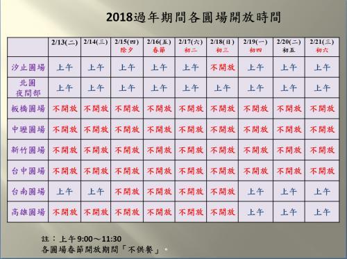 【公告】2018過年期間各圓場開放日